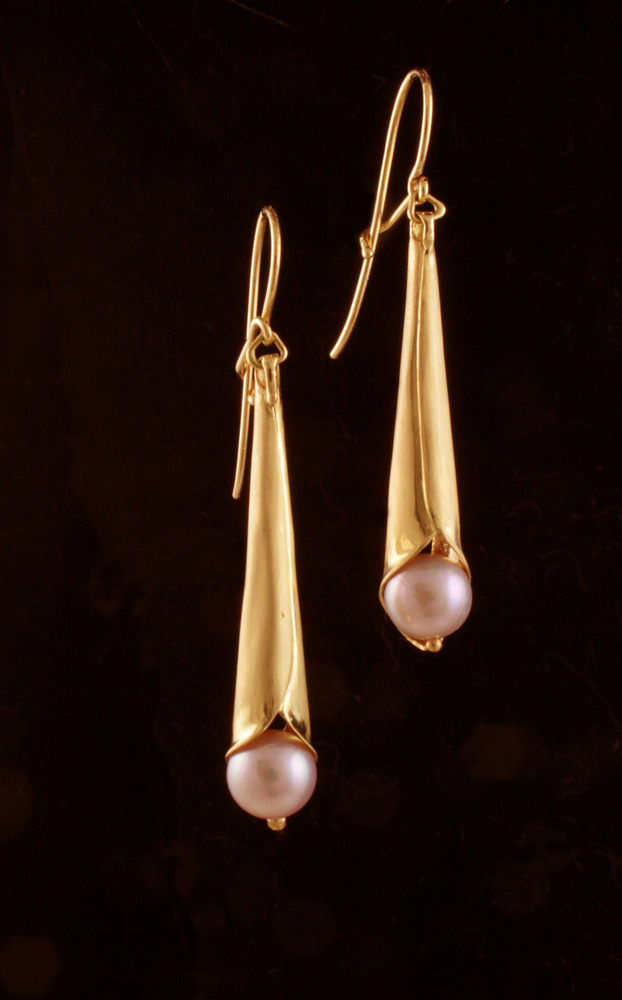 Pearl Trumpet Earrings
