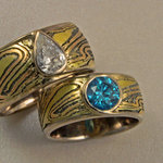 Pear and Blue Diamond Mokume Bands