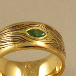 Mokume Band with Green Sapphire