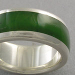 Jade Inlay Ring in Silver