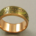 Classic Mokume Band in Red Gold