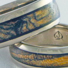Bocote and Padouk Wood Inlay Rings