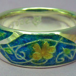 Enamel Ring with Yellow Flower