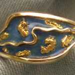 Enamel Ring with Gold Nuggets