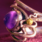 Amethyst, Silver, and Gold Ring