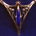 Lapis Ruby and Diamond Pendant