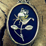 Rose Pendant silver on ebony