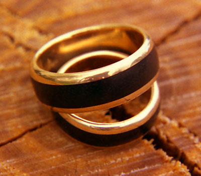 Back Ebony Wood Inlay Rings